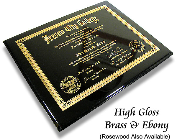 metal diploma certificate plaques. Black Bedroom Furniture Sets. Home Design Ideas