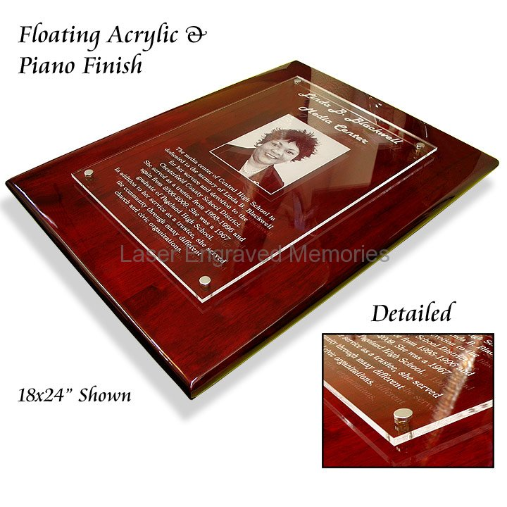 piano finish floating acrylic plaques. Black Bedroom Furniture Sets. Home Design Ideas