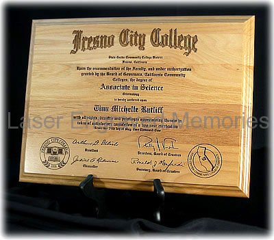 Engraved Wood Diplomas And Certificates