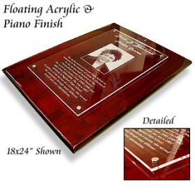 Piano Finish Floating Acrylic Plaque 3