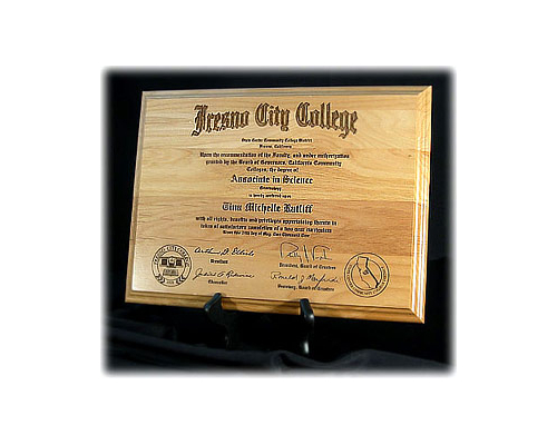 Engraved Wood Diploma